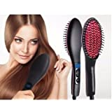 ISABELLA 2 In 1 Ceramic Hair Straightener Brush - Black