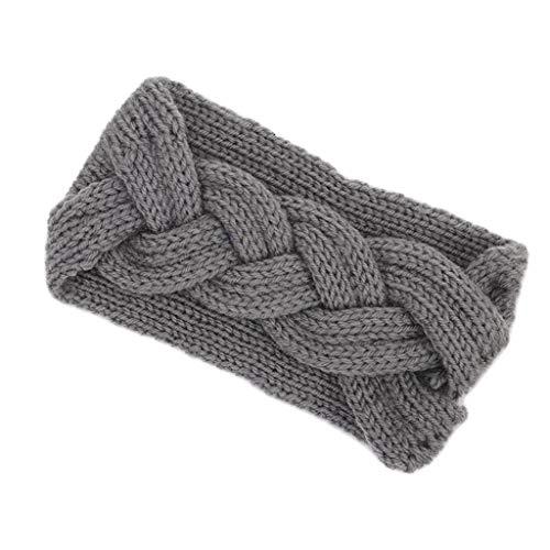 Lergo Damen Winter-Ohrenwärmer Haarband zweireihig gedrehtes Stirnband Turban Solid, grau