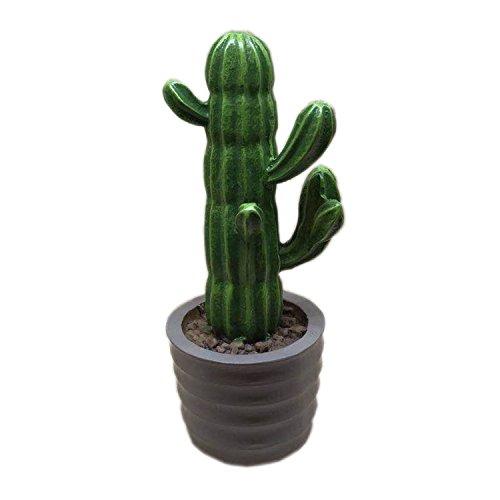 YIVVIN - Plantas artificiales de resina con maceta de cactus suculentas, decoración de escritorio, 14 cm, Gris, 5x14cm
