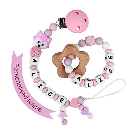 Schnullerkette mit Namen Mädchen Schnuller Clip Silikon Perlen Beißring Zahnen BPA Frei für Babys Fuchs (Pink mit Beißring)