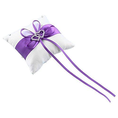 Ericcay Double Heart Satin Hochzeit Ring Träger Kissen Hochzeitsdekoration (Blau) Unikat Sitzkissen Mit Abnehmbaren Täglich Gebrauch Zuhause Ornament Sitzauflage (Color : Purple, Size : Size)