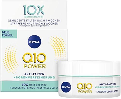 NIVEA Q10 Power Anti-Falten + Straffung porenverfeinernde Tagespflege für jünger aussehende Haut, Tagescreme mit LSF 15, 2er Pack(2 x 50 ml) -