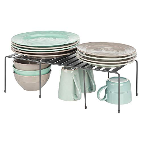 mDesign étagère de cuisine (lot de 2) - égouttoir ajustable en métal pour plus d'espace de rangement - étagère cuisine antidérapante rétractable - gris