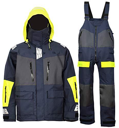 Navis Marine Offshore Segeljacke Bib Hose für Herren Angeln Regenanzug Foul Weather Gear Pro Atmungsaktiv, Navy, Large (6', 185lb~215lb)