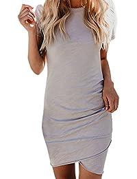 Moceal Damen Enges Kleid Sommerkleid Rundhals Kurzarm Kleid Bodycon  Unregelmäßig Minikleid 7811967c3f