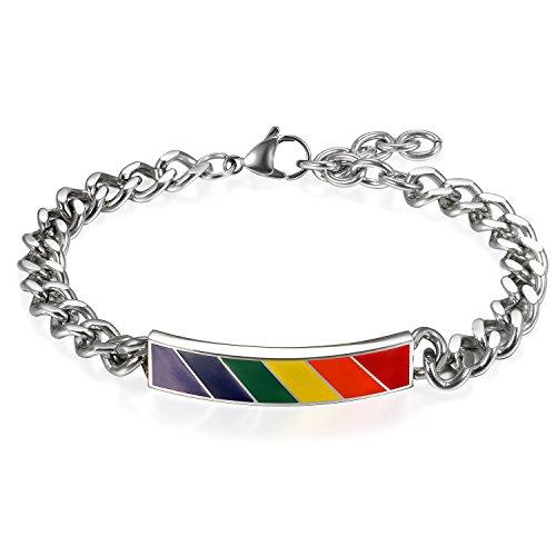 JewelryWe Pulseras de Arco Iris LGBT Pulseras de Parejas, Acero Inoxidable Pulseras LGBT Pride Unisex, Regalo de Amor, Hombre