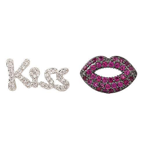 r Creolen Ohrclips Asymmetrische Ohrringe_S925 Süße Mädchen Herz Ohrringe Personalisierte Ohrringe Temperament Kuss Lippen ()
