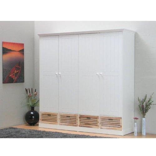 4-türiger Kleiderschrank PAULINA Schlafzimmerschrank Flügeltürenschrank weiß