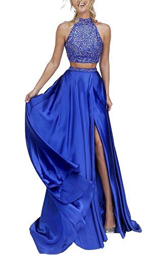 Bridal_Mall - Robe - Trapèze - Sans Manche - Femme 34 Bleu