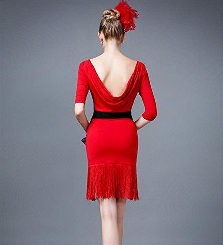 Femme professionnelle robe de danse latine / jupe panicule concours de danse Red