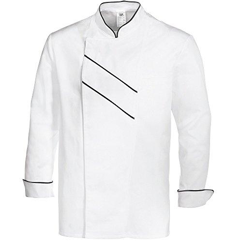 BP Professionelle weiße Kochjacke für Herren-Langarm Cooks Kleidung- Herrenuniform aus Mischgewebe aus Baumwolle und Polyester -  ,Gr:48 weiß / schwarz -
