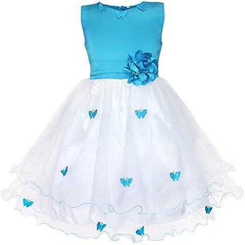 iEFiEL Vestido Elegante de Mariposas de Fiesta Bautizo para Niña Vestido Infantil