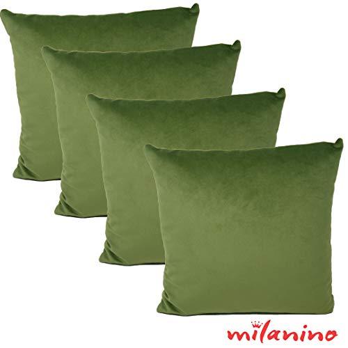 milanino 4er Set Dekokissen mit Füllung und Bezug | 40x40 cm | Premium Füllkissen samtweich Sofakissen Couchkissen Zierkissen mit Kissenhülle | pflegeleicht | mit Reißverschluss | design (Khaki Grün)