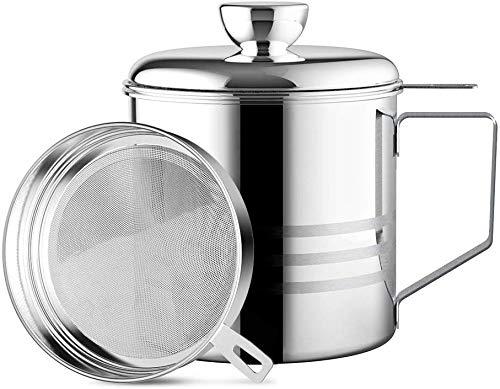 Haosens 1200ml Filtro Aceite Cocina Acero Inoxidable, Graseras de Cocina con Malla Fina Colador y Tapa...