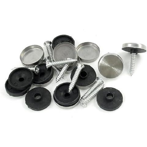 Sourcingmap - Disegno specchio del diametro di 18 millimetri unghie tappo a vite di regolazione silver-tone 10 pz
