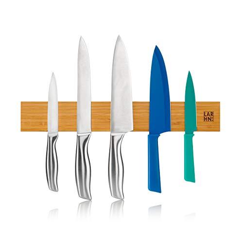 LARHN Barra Magnética para Cuchillos - 40 cm - Instalación con o Sin Tornillos - Madera de Bambú...