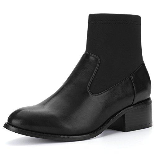 Allegra K Damen Chunky Ferse Strecken Panel Ziehen-Auf Socken Stiefel, Schwarz/EU 39 (Ferse Ziehen)