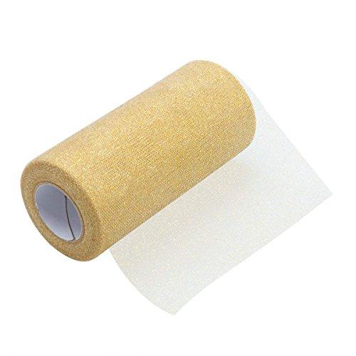 ultnice Glitzer Tüll Rolle Sparkle Tüll Band Rolle Tüll Spule Material 15,2cm Gold