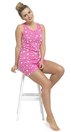Pour Femme Doux Débardeur Coton Et Short Imprimé Pyjama Pyjamas Ensemble Bleu