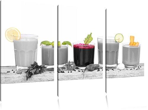selbstgemachte Bio Fruchtsäfte schwarz/weiß auf 3-Teiler Leinwandbild 120x80 Bild auf Leinwand, XXL riesige Bilder fertig gerahmt mit Keilrahmen, Kunstdruck auf Wandbild mit Rahmen, gänstiger als Gemälde oder Ölbild, kein Poster oder Plakat (Sekt Mit Fruchtsaft)
