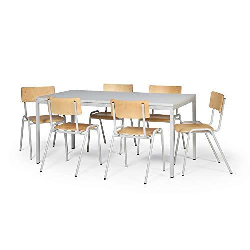 Protaurus Tisch-Stuhl-Kombination | Großer Tisch (Weiß) + 6 Stühle (Buche) | Sitzgarnitur mit...