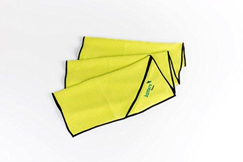 Banters® Sporthandtuch für`s Fitnessstudio mit Tasche, Antirutsch-Funktion aus Microfaser im praktischen Netzbeutel, Waschbar bei 60° (Lemon)