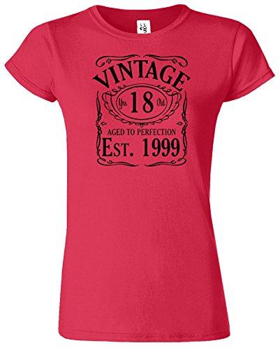 VINTAGE EST 1998 Ladies TShirt Born 18th Year Birthday Present Ladies Tshirt Gift Antik Kirschrot / Schwarz Design