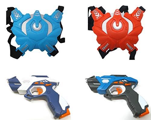 Brigamo Laser Tag 2er Pack, 2 x Laser Pistole und 2X Sensor Weste, Infrarot Lasertag Spiel Set, Infrarot Actionspiel für Kinder und Erwachsene