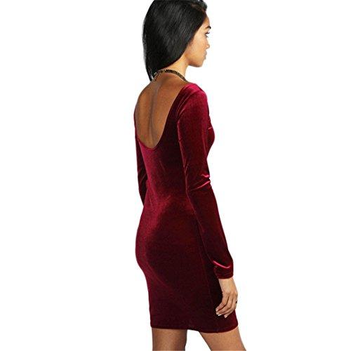 JOTHIN Heißes verkaufendes Rock Europa und das Vereinigte Staaten neue Art  und Weisefrauen der Art und Weise halter lang sleeved Kleid Rot