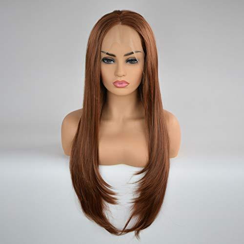 kashyk Frauen Arbeiten synthetische Lange gerade Brown Farbe lace Front Middle Parting Perücke Haar Cosplay Perücke für Halloween, Fasching, Makeup -