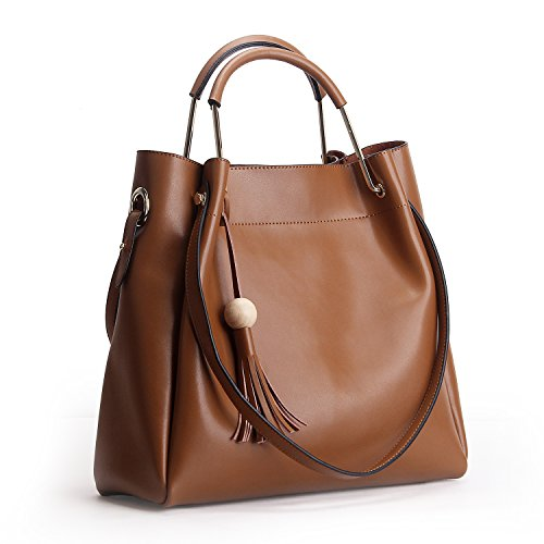 Panzexin Geldbörsen und Handtaschen für Frauen echtes Leder große Kapazitäts Taschen Art und Weiseart Handtaschen Frauen Handtasche Braun (- Geldbörse Tasche Brown-leder-handtasche)