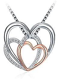 """Collier, J.Rosée Argent 925 Bijoux Femme/Fille, 5A Zirconium cubique Blanc, Pendentif Idéal, Chaîne 45+5cm, Cadeau parfait""""Doux Amour"""""""