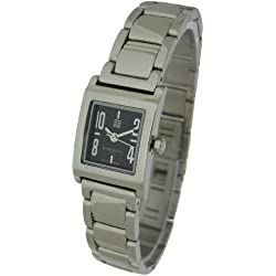 GV-7C - Givenchy Ladies Watch, Stainless Steel Square Case and Bracelet with Black Arabic Dials