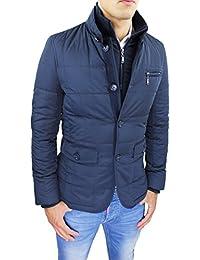 Giubbotto Piumino Uomo Sartoriale Blu Casual Elegante Giacca Cappotto  Invernale con Gilet Interno ae6e812b34a