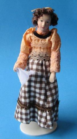 Frau im Karierten Rock Puppe für die Puppenstube Miniatur (Kostüm Puppe Porzellan)