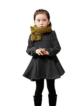 M-g-x Children 'S Clothing Autumn & Winter New Girls Cotton Thick Bow Peng Peng Dress Size 140cm (Gray) 3