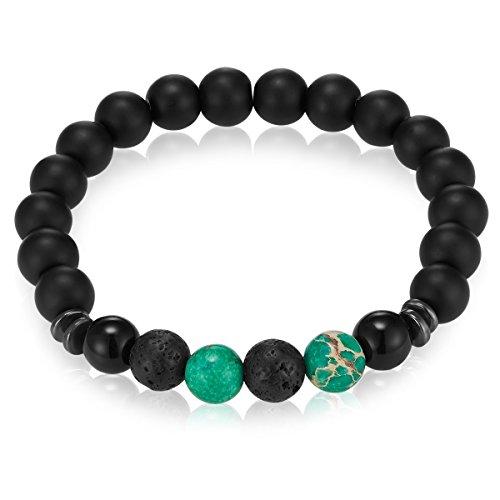 Gemdor Damen - Herren-Armband Onyx Schwarz Jaspis Grün 16-21 cm - Perlen-Schmuck Yoga-Armbänder Energie Heilsteine