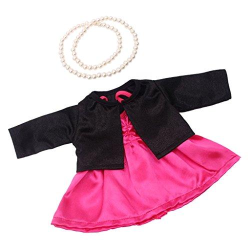 Sharplace Vestido de Fiesta Partido + Abrigo + Collar de Perlas Artificial para 18 Pulgadas Americana Muchacha Muñeca