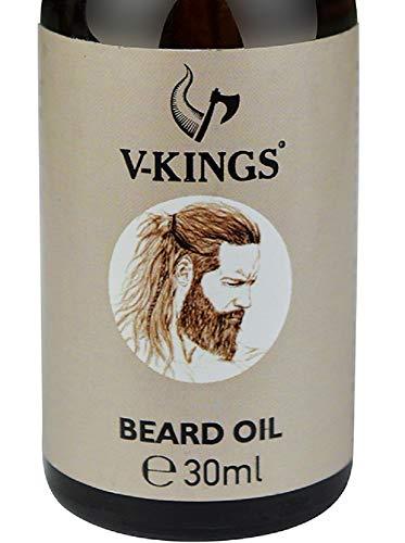Bartöl natürlich von V-Kings – Premium pflanzliches Bartpflege Öl mit dezenten frischen Duft -Hanföl Hydrat für perfekten weichen Bart (30 ml – Beard Oil, Bartpflege Männer)
