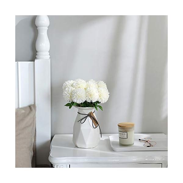 Tifuly Flores de Hortensia Artificial, 12 Piezas de crisantemo de Seda pequeña Bola de Flores para la decoración de la Oficina del jardín del hogar, Ramos de Novia, arreglos Florales(Azul)
