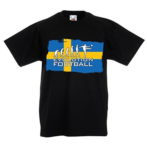 Kinder Jungen/Mädchen T-Shirt Fußball Weltmeisterschafts-Fußball-Meisterschaft 2018, schwedische Fußballnationalmannschaft (3-4 Years Schwarz Mehrfarben) -