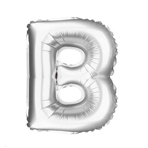 oll A bis Z Brief Folie Ballons Party Ballon Silber Farbe (B) (Alphabet Geformte Ballone)