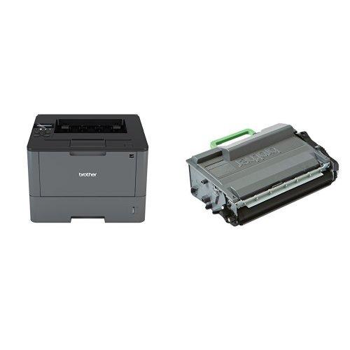 Brother HLL5100DN Stampante Laser Monocromatica, con Stampa Fronte e Retro, A4, USB, LAN + TN-3480 Toner, Capacità 8.000 Pagine, Laser, Nero