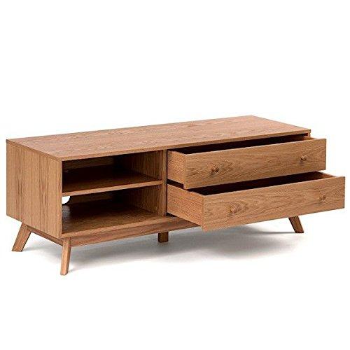 Meuble TV KENSAY, 130 x 45 x 50 cm, en chêne, 2 tiroirs, étagère ajustable - 130 x 45 x 50 cm (largeur x profondeur x hauteur), en chêne massif (structure) et placage de chêne