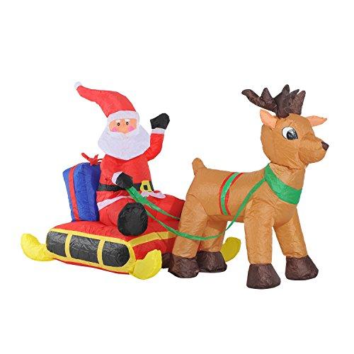 Papa Noel con Reno Hinchable + Inflador y Luz LED Decoracion Navidad...