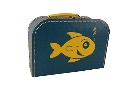 Pappkoffer petrolblau mit Fisch 16 cm