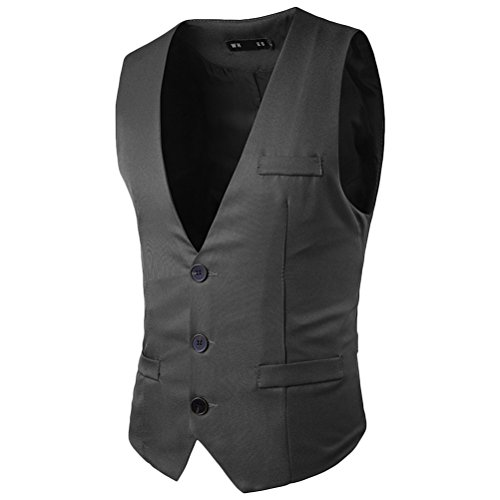 Zhhlaixing traspirante Men's Business Formal Casual Dress Suit Vest Waistcoat Sleeveless Gray