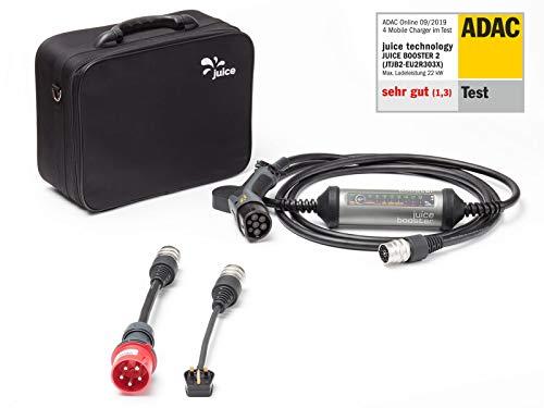 Juice Booster 2 Smart Kfz Ladestation mit Ladesteckern - 32A 3-Phasig, 1-Phasig Typ 2 AC  Basic Set inkl. Adapter CEE32 und Typ G (UK)