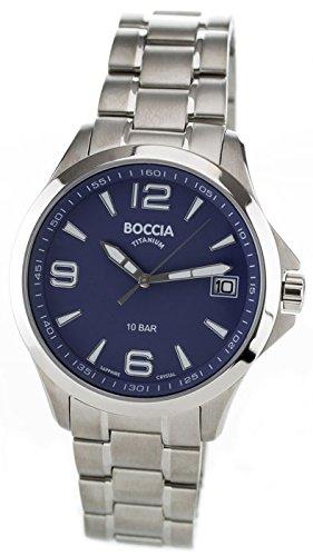 Boccia Herren Analog Quarz Uhr mit Titan Armband 3591-03
