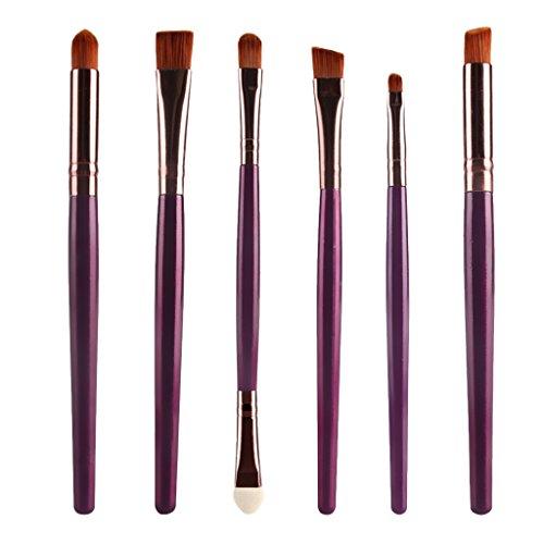 6pcs Pinceaux de Maquillage pour Yeux Eyeliner Fard à Paupières Or Pourpre
